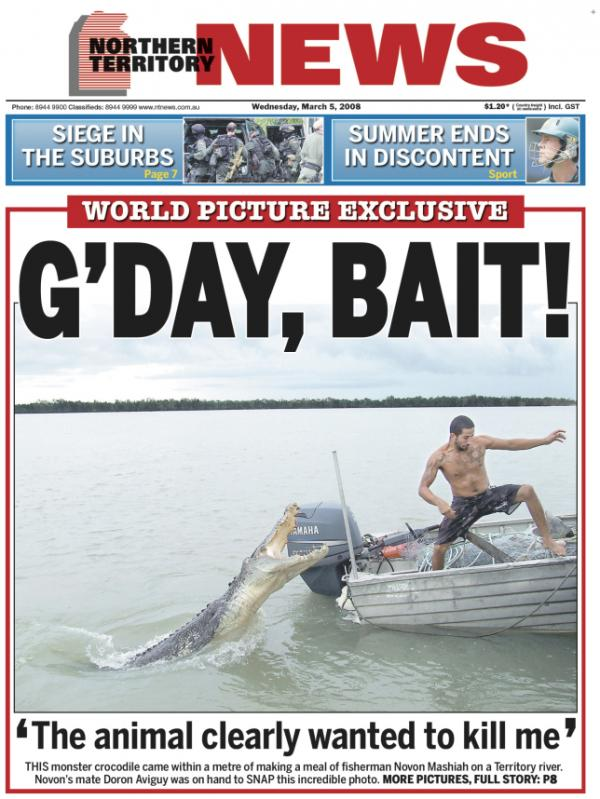 Australia's <em>Northern Territory News</em> features a crocodile photo on its front page several times each week.