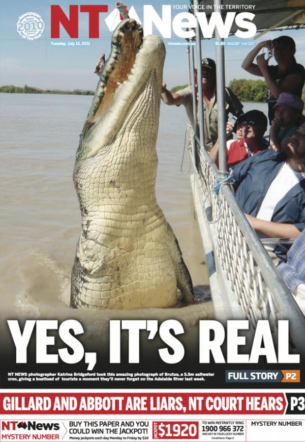 "The <em>Northern Territory News</em> is famous across Australia for its liberal use of crocodile photos on the paper's front page, including this memorable shot of a ""croc cruise."""