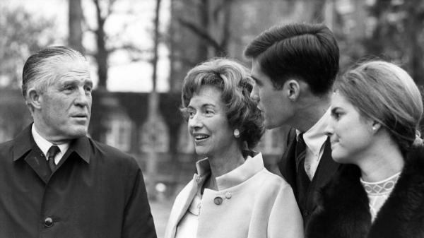 Mitt Romney with his then fiancee, Ann (right), and Romney's parents, in Washington, D.C., in 1969. Romney had returned from Mormon missionary work in France the previous year.