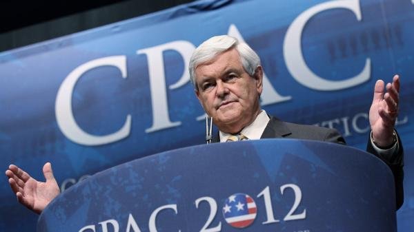 Former House Speaker Newt Gingrich addresses the Conservative Political Action Conference in Washington, D.C., on Friday.