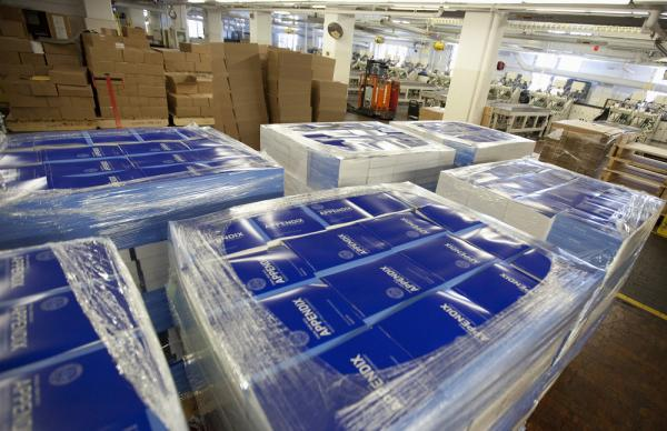 Copies of of President Barack Obama's fiscal 2013 federal budget are readied for shipment, Thursday, Feb. 9, 2012, at the Government Printing Office in Washington.