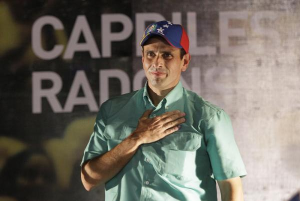 Henrique Capriles gestures after wining the opposition presidential primary in Caracas, Venezuela on Sunday.