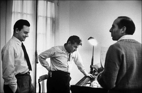 "Sondheim (left) wrote the lyrics for <em>West Side Story;</em> classical-music superstar Leonard Bernstein (center) was the composer, Jerome Robbins the director and choreographer. The story of the show's genesis is told in the special NPR series <a href=""http://www.npr.org/templates/story/story.php?storyId=14732874"">50 Years of West Side Story</a>."