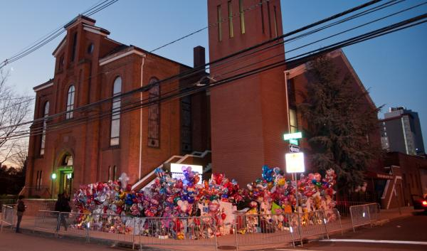 A makeshift memorial is seen prior to the funeral services for Whitney Houston at the New Hope Baptist Church in Newark, New Jersey on Saturday.
