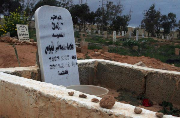 "The grave of Mohamed ""Mo"" Nabbous is seen in Libya. Mo was killed by a sniper on March 19, 2011 while filming Libya's revolution."