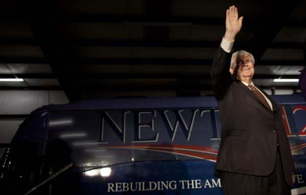 Former House Speaker Newt Gingrich waves during a campaign stop Friday in Peachtree City, Ga. Doing well in the state's primary is important for Gingrich because he represented a congressional district there for 20 years.