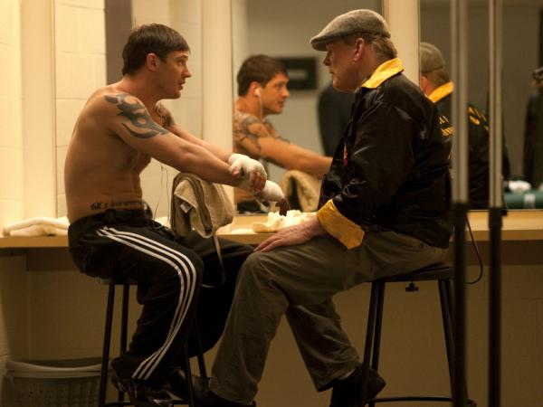 Tom Hardy and Nick Nolte in <em>Warrior</em>.