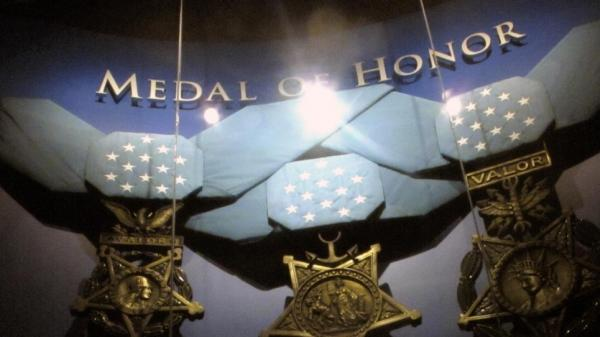 The Supreme Court heard arguments over whether it should be a crime to lie about receiving military medals. Here large replicas of the Medals of Honor hang at the Medal of Honor Museum.