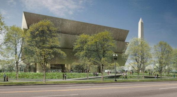 An artist's conception of what the Smithsonian's National Museum of African American History and Culture will look like when it's finished in 2015. The Washington Monument is in the background.