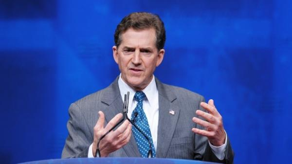"Republican Sen. Jim DeMint of South Carolina, shown here speaking at the Conservative Political Action Committee in Washington, D.C., on Feb. 9, has said of this year's presidential race: ""It's not about politics."""
