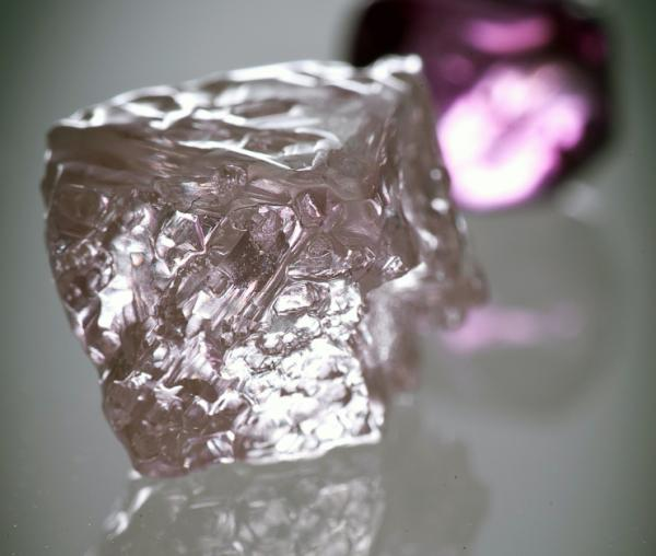 An undated handout photo released by mining giant Rio Tinto on Feb. 22 shows a 12.76 carat pink diamond — the largest of the rare and precious stones ever found in Australia.