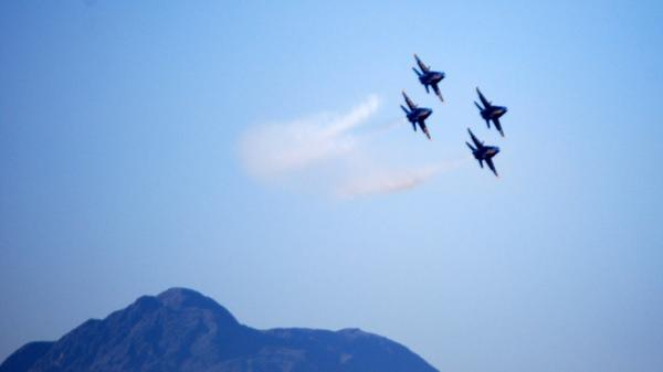 The Blue Angels practice above El Centro, Calif., last week.