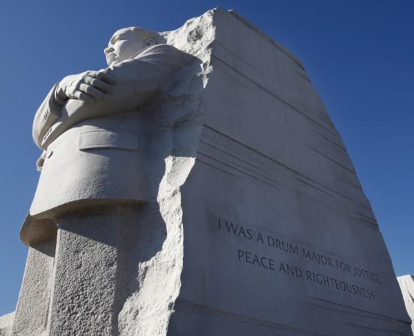 "The quote was carved into the side of the statue — ""I was a drum major for justice, peace and righteousness"" — was truncated to accommodate space limitations. Maya Angelou said the abbreviation made King sound like ""<a href=""http://www.washingtonpost.com/local/maya-angelou-says-king-memorial-inscription-makes-him-look-arrogant/2011/08/30/gIQAlYChqJ_story.html"">an arrogant twit</a>."""