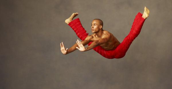 """Yannick Lebrun performs choreography from Robert Battle's<em> Takademe.</em> """"<em>Takademe </em>is near and dear to me as one of my first creations,"""" says Battle, artistic director of the Alvin Ailey American Dance Theater. """"It's a work I made in the tiny living room of my old apartment in Queens.""""<em></em>"""