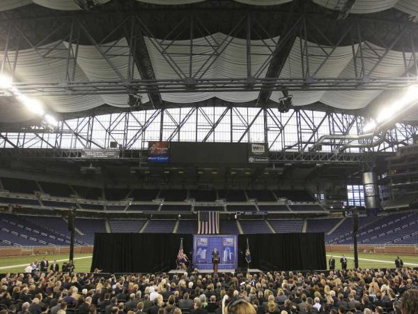 Mitt Romney at Ford Field in Detroit, Friday, Feb. 24, 2012.