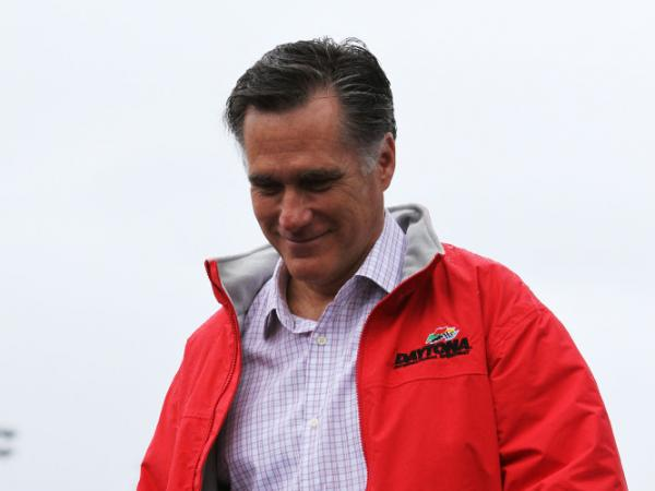 Republican presidential candidate Mitt Romney speaks at Daytona International Speedway on Feb. 26, 2012 in Daytona Beach, Florida. Romney is campaigning for upcoming primaries in Arizona and Michigan.