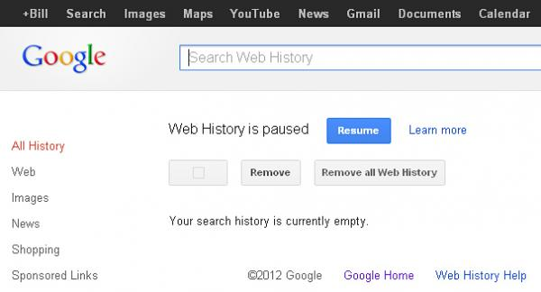 A screengrab shows the Google Search history page — and the buttons to click to remove and pause a user's history.