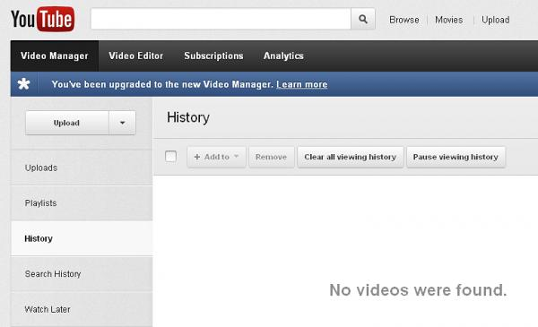 YouTube's history and search history are separate tabs that users may want to use to clear their past usage, as seen in this screengrab.