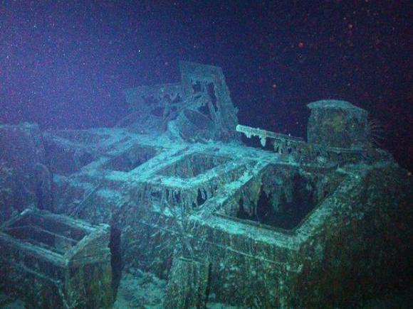 <p>This image captured by a remote submersible shows a steel skylight on the SS Mantola's deck, above the ship's engine room. The wreck sits under 8,000 feet of water.</p>