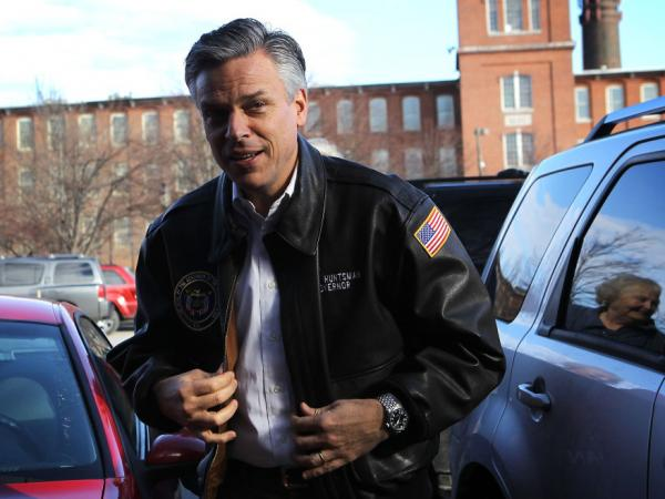Former Utah Gov. Jon Huntsman, who was stumping at Harvey's Bakery in Dover, N.H., is pinning his hopes on a strong finish in the Granite State.