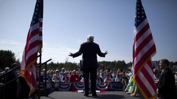 Newt Gingrich speaks in Woodstock, Ga., on Thursday.