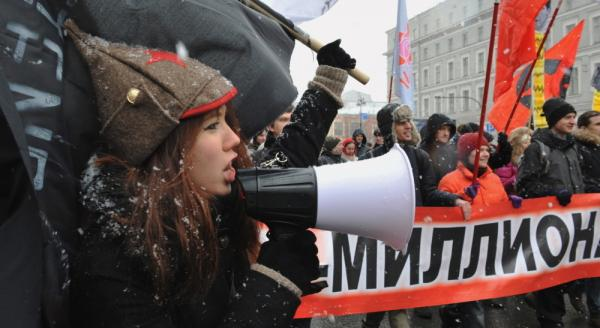 Members of Russia's opposition protest in Saint Petersburg on Feb. 26 against Prime Minister Vladimir Putin's expected return to the Kremlin.