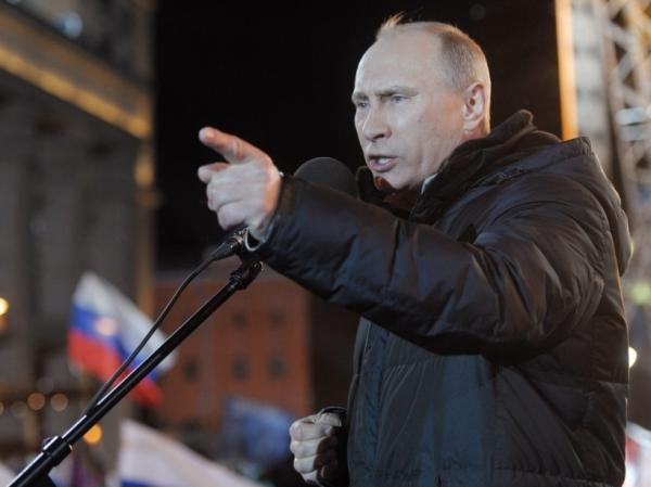 Russian Prime Minister Vladimir Putin at a rally in Moscow on Sunday. He won election to the post he previously held: president.