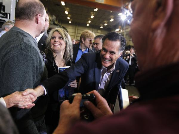 Mitt Romney greets supporters in Youngstown, Ohio, Monday, March 5, 2012.