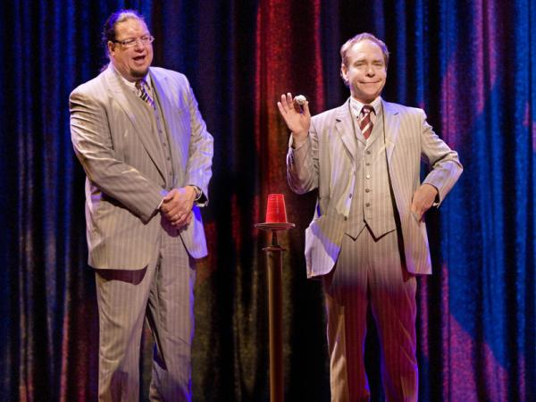 Penn & Teller, performing at the Rio in Las Vegas in 2008.