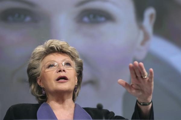 European Commissioner for Justice, Fundamental Rights and Citizenship Viviane Reding addresses the media at the European Commission headquarters in Brussels on Monday.
