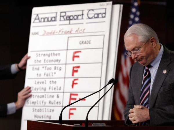 Republican congressmen present a report card of the Dodd-Frank Act.