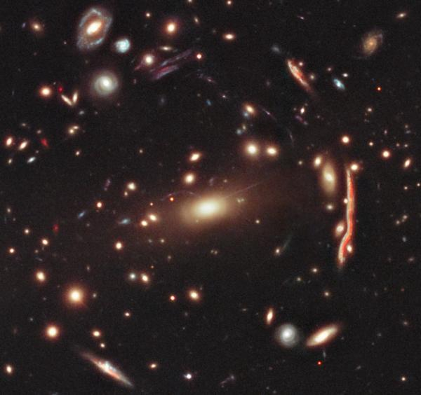 "Observations of the galaxy cluster known as MACS 1206 by the Cluster Lensing And Supernova survey with Hubble (CLASH) should help astronomers <a href=""http://www.nasa.gov/mission_pages/hubble/science/dark-matter-survey.html"">create detailed maps of Dark Matter</a> in the region."