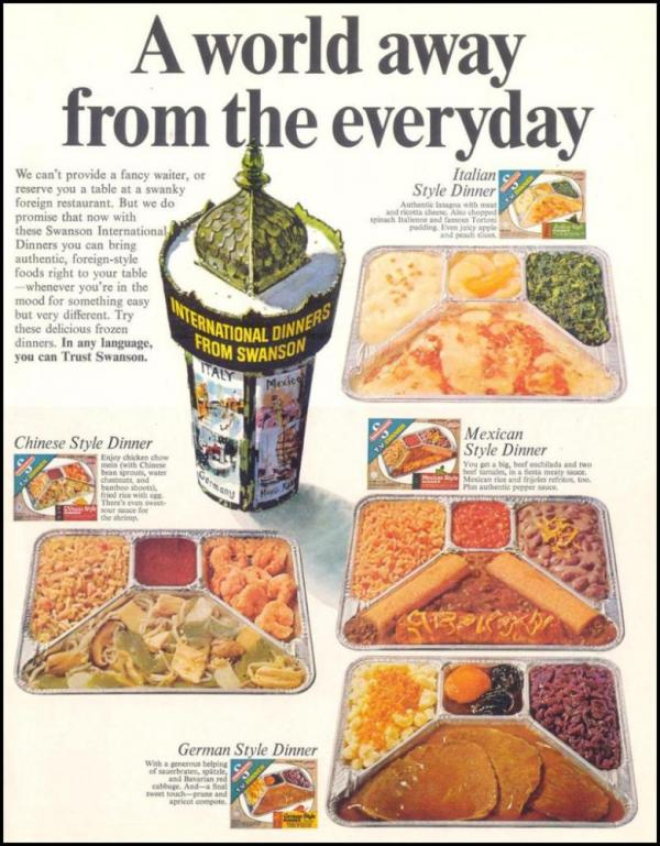 "1967 Swanson ""International"" TV Dinners advertisement"