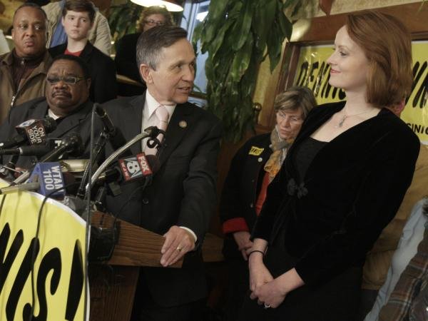 Rep. Dennis Kucinich thanks his wife Elizabeth during his concession speech, Cleveland, OH, Tuesday, March 6, 2012.