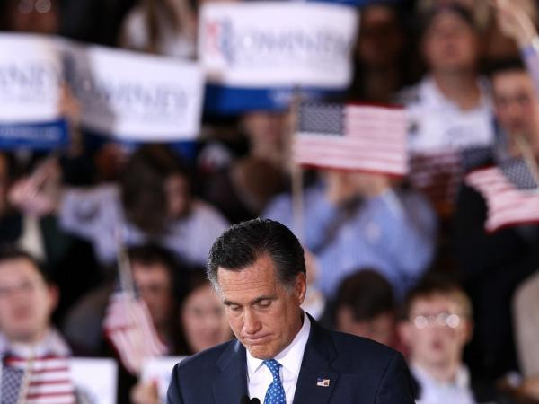 Republican presidential candidate Mitt Romney speaks during a Super Tuesday event March 6, 2012 in Boston, Massachusetts. While Romney is the front runner, Republican voters have not formed an effective consensus over one candidate.