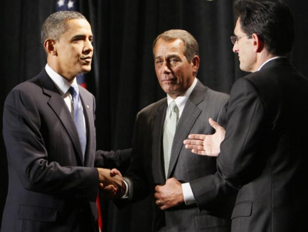 President Obama with Reps. John Boehner and Eric Cantor, Jan. 29, 2010.