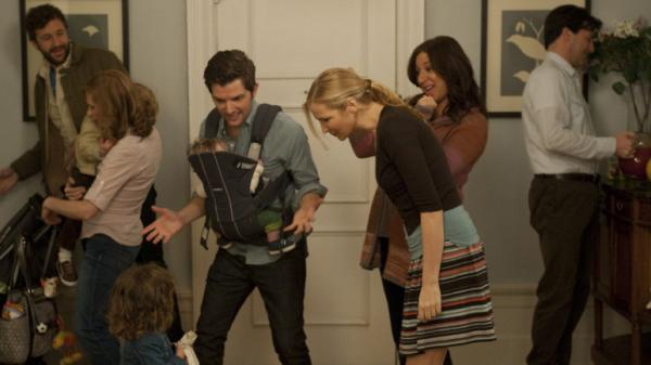 Chris O'Dowd (left), Kristen Wiig, Adam Scott, Jennifer Westfeldt, Maya Rudolph and Jon Hamm play 30- and 40-somethings approaching parenthood from vastly different angles in <em></em><em>Friends With Kids</em>. Westfeldt wrote and directed the film.