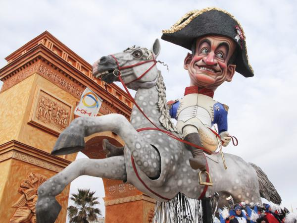 "A carnival float called ""Grandeur"" showing French president Nicolas Sarkozy dressed as Napoleon on a horse during a parade during the carnival in Viareggio, Italy on Feb. 5, 2012."