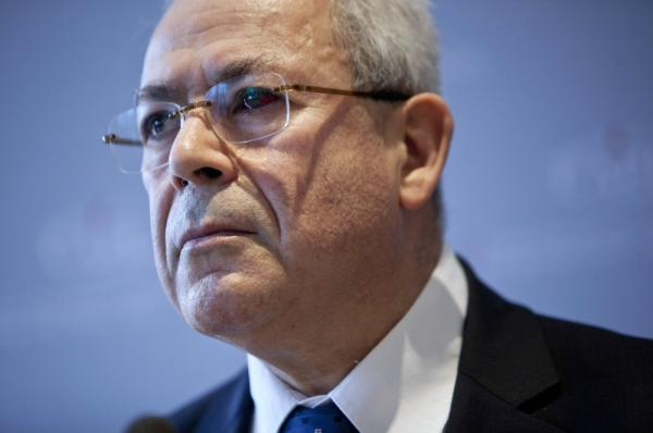 Syrian National Council leader Burhan Ghalioun attends a news conference in Paris on March 1.