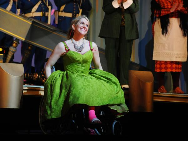 Joyce DiDonato performs in her wheelchair and pink cast after breaking her leg in a production of  Rossini's <em>Barber of Seville</em>, at London's Royal Opera House.