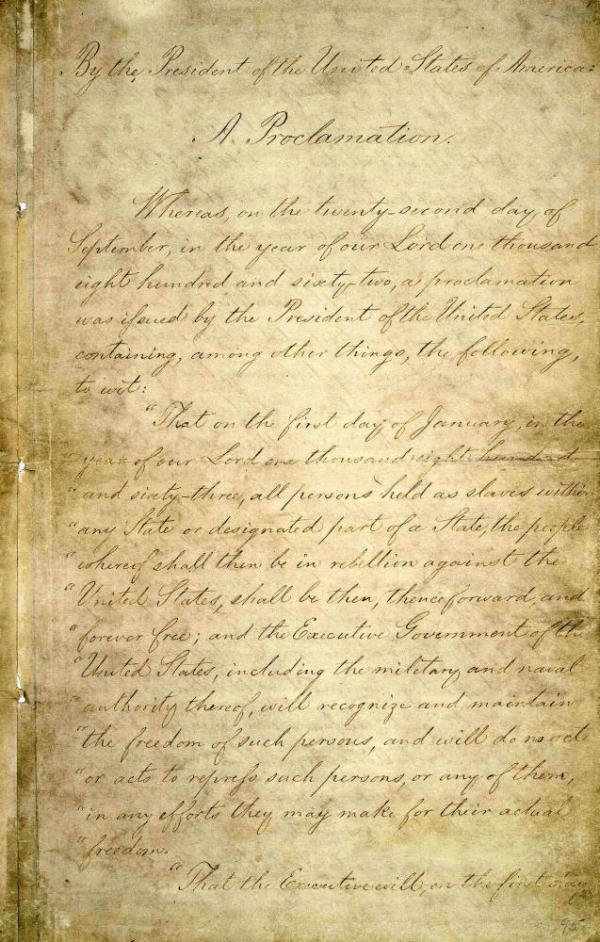 "Abraham Lincoln signed the Emancipation Proclamation on Jan. 1, 1863. The 150-year-old document has suffered damage from handling and light deterioration. You can learn more and get a closer look at the five-page proclamation <a href=""http://www.archives.gov/exhibits/featured_documents/emancipation_proclamation/"">at the National Archives website</a>."