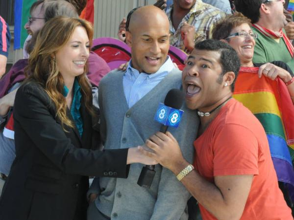Erin Gibson, Keegan-Michael Key and Jordan Peel in a skit from <em>Key & Peele</em>.