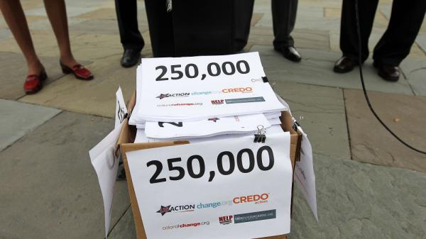 Petition signatures sit in a box at a Sept. 21, 2011, news conference in Washington, D.C. The signatures, collected by Change.org and other groups, were delivered to congressional co-sponsors of legislation to ban hiring discrimination against unemployed workers.