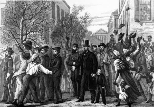 <em></em>This 1865 drawing by L. Hollis, engraved by John Chester Buttre, depicts Abraham Lincoln as he enters Richmond, Va., in April 1865. Scroll down to learn more about this image and other artistic works inspired by the Emancipation Proclamation.