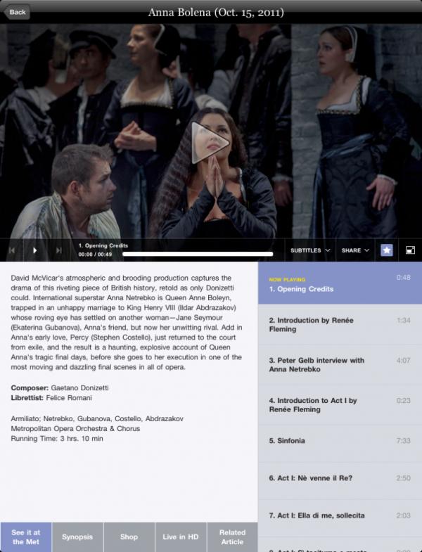 A screenshot of the Met Opera's new iPad app — featuring Anna Netrebko.