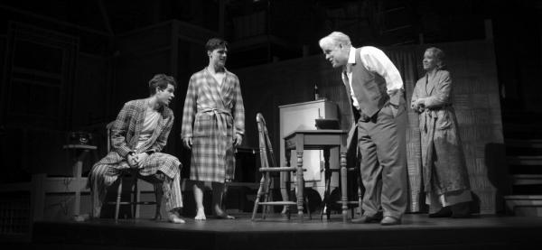 Philip Seymour Hoffman (center) is the latest Willy Loman in a new revival of Arthur Miller's classic, <em>Death of a Salesman, </em>directed by Mike Nichols<em>. </em>Hoffman stars with (from left) Andrew Garfield, Finn Wittrock and Linda Emond in the 63-year-old, Pulitzer Prize-winning play.