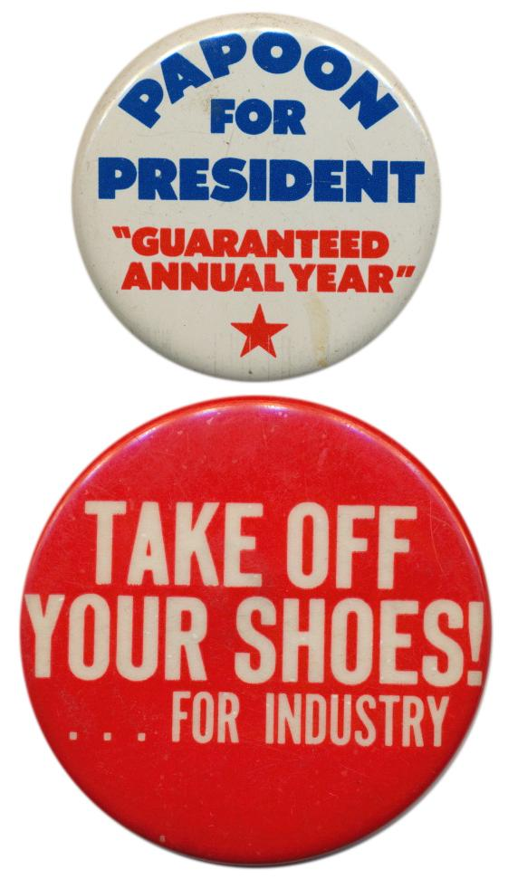 Two buttons from Firesign Theater lore that may be impossible to describe or explain in this format.