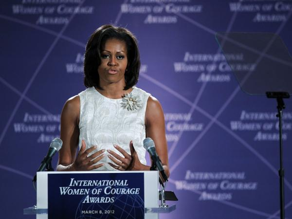First lady Michelle Obama speaks during the presentation ceremony of the International Women of Courage Awards at the State Department March 8, 2012 in Washington, DC. The Obama Administration requires health care providers include birth control coverage.