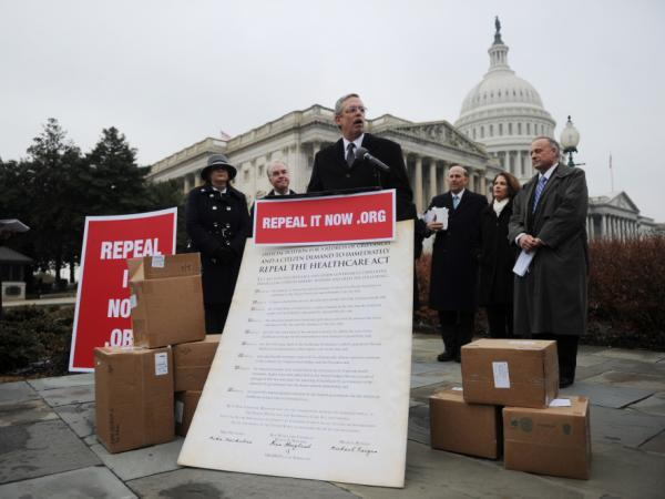 "A Jan. 18, 2011 photo of Ken Hoagland, Chairman of ""repeal it now (dot) org"" makes remarks during a press conference to receive petitions calling for repeal of Obamacare on Capitol Hill in Washington, DC."