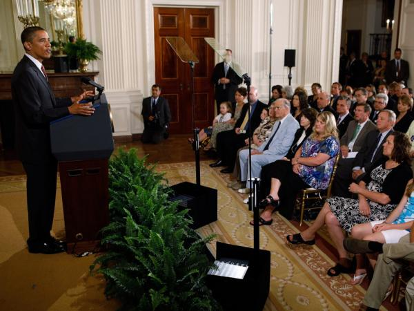 U.S. President Barack Obama delivers remarks during an event to mark the 90-day anniversary of the signing of the Affordable Care Act June 22, 2010 in Washington, DC.